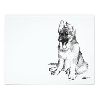 Perrito del pastor alemán invitación 10,8 x 13,9 cm