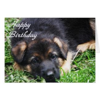 Perrito del pastor alemán - tarjeta de cumpleaños