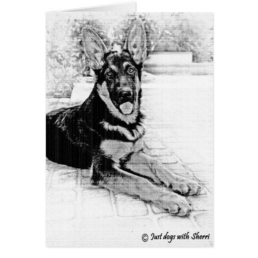 Perrito del pastor alemán tarjetón
