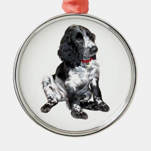 Perrito del perro de aguas de saltador inglés - adorno navideño redondo de metal