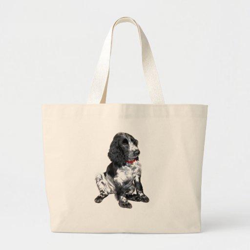 Perrito del perro de aguas de saltador inglés - bl bolsa tela grande