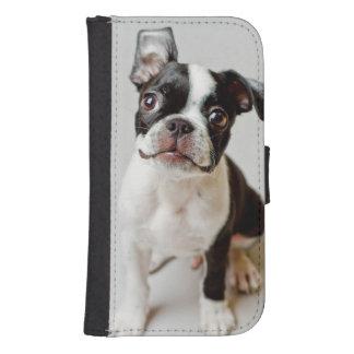 Perrito del perro de Boston Terrier Funda Tipo Billetera Para Galaxy S4