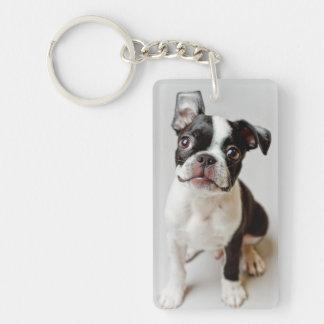 Perrito del perro de Boston Terrier Llavero Rectangular Acrílico A Doble Cara