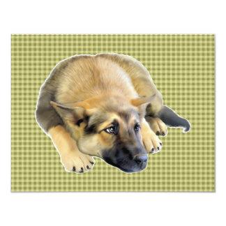 """Perrito del perro de pastor alemán invitación 4.25"""" x 5.5"""""""