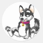 Perrito del perro esquimal de Anthro Etiqueta Redonda