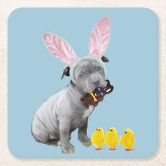 Perrito del pitbull de Pascua Posavasos Desechable Cuadrado