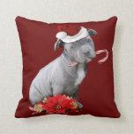 Perrito del pitbull del navidad almohada
