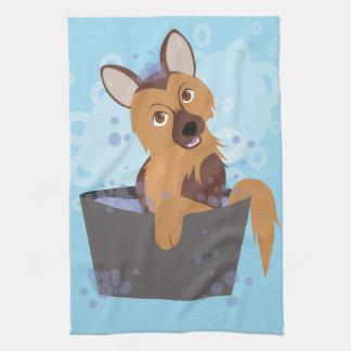 Perrito del tiempo del baño toalla de mano