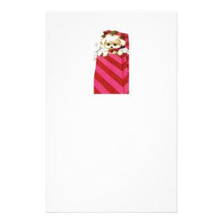 Perrito dulce Bichon Lasa del navidad del vintage Papeleria De Diseño