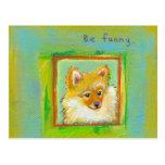 Perrito dulce divertido del perro de los pomerarni tarjeta postal