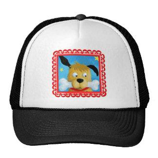 Perrito en casquillo rojo del marco gorros bordados