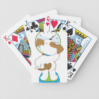 Perrito en escala barajas de cartas