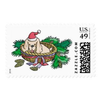 Perrito en sellos de la cesta