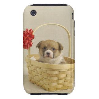 Perrito en una cesta iPhone 3 tough protectores