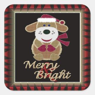 Perrito feliz y brillante de Santa del navidad Calcomanía Cuadrada Personalizada