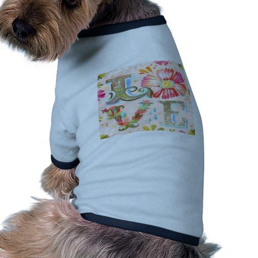 Perrito floral del amor camiseta de perro