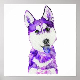 Perrito fornido púrpura póster