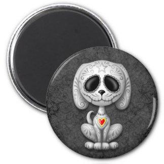 Perrito gris del azúcar del zombi imán redondo 5 cm