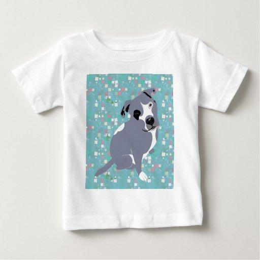 Perrito gris lindo de Pitbull en modelo de los Playera De Bebé