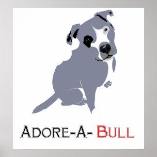 Perrito gris y blanco Adorar-uno-Bull de Pittie Posters