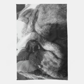 Perrito inglés blanco y negro del dogo toallas de mano
