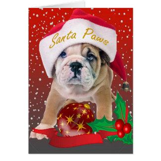 Perrito inglés del dogo en el gorra de Santa Tarjetón