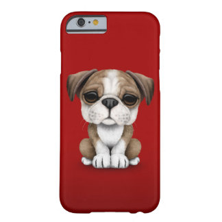 Perrito inglés lindo del dogo en rojo funda de iPhone 6 barely there