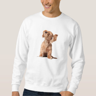 Perrito joven que escucha la música en los suéter