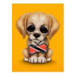 Perrito lindo con la bandera de Trinidad and Tobag Tarjeta Postal