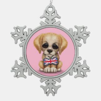 Perrito lindo con la etiqueta británica del mascot adorno