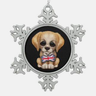 Perrito lindo con la etiqueta británica del mascot adornos
