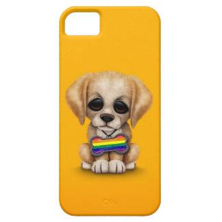 Perrito lindo con la etiqueta de la bandera del funda para iPhone 5 barely there