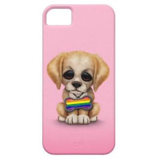Perrito lindo con la etiqueta de la bandera del iPhone 5 fundas