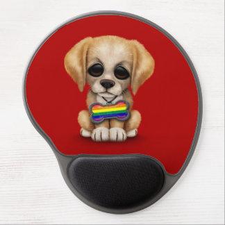 Perrito lindo con la etiqueta de la bandera del or alfombrillas de ratón con gel