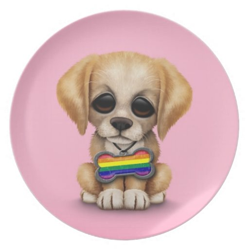 Perrito lindo con la etiqueta de la bandera del or platos