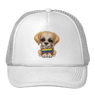 Perrito lindo con la etiqueta del mascota de la ba gorros bordados