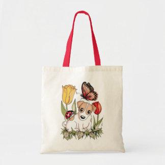 Perrito lindo con la mariposa, la mariquita y los  bolsa tela barata