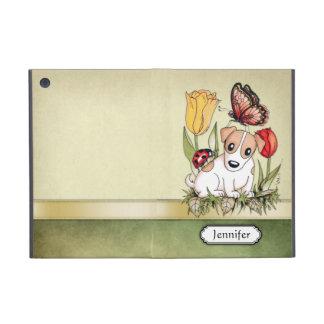 Perrito lindo con la mariposa, la mariquita y los  iPad mini cobertura