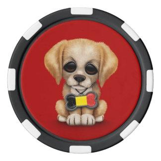 Perrito lindo con la placa de identificación belga juego de fichas de póquer