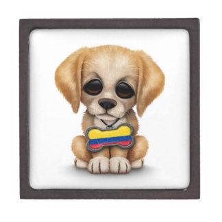 Perrito lindo con la placa de identificación colom cajas de recuerdo de calidad