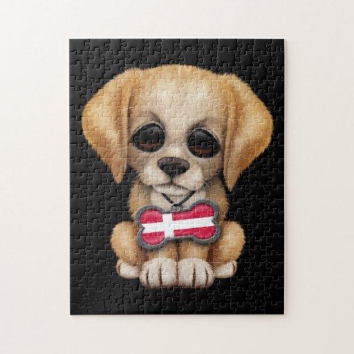 Perrito lindo con la placa de identificación danes puzzles