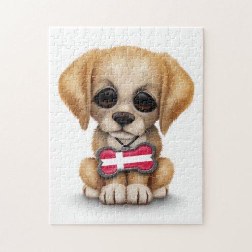 Perrito lindo con la placa de identificación danes rompecabezas con fotos