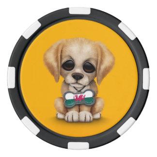 Perrito lindo con la placa de identificación de la fichas de póquer