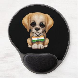 Perrito lindo con la placa de identificación india alfombrillas de ratón con gel