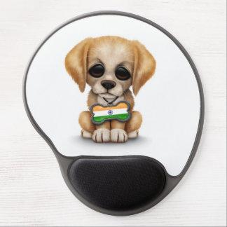 Perrito lindo con la placa de identificación india alfombrillas de raton con gel