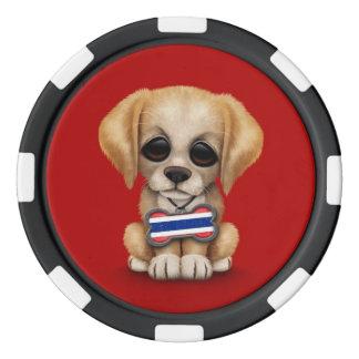 Perrito lindo con la placa de identificación juego de fichas de póquer
