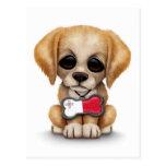 Perrito lindo con la placa de identificación malte postales