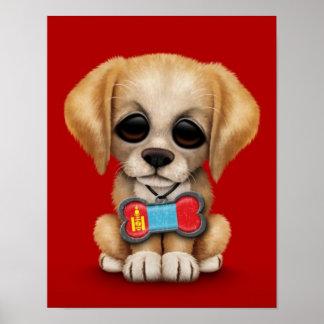 Perrito lindo con la placa de identificación mongo posters