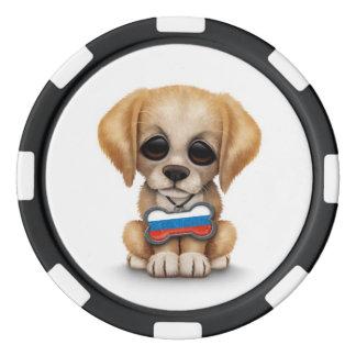 Perrito lindo con la placa de identificación rusa juego de fichas de póquer