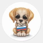 Perrito lindo con la placa de identificación rusa etiquetas redondas